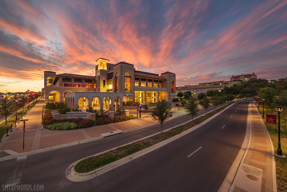 Sunset-Over-Texas-State-University-San-Marcos-TX